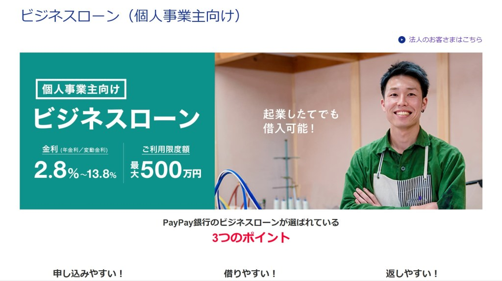 PayPay銀行ビジネスローン紹介
