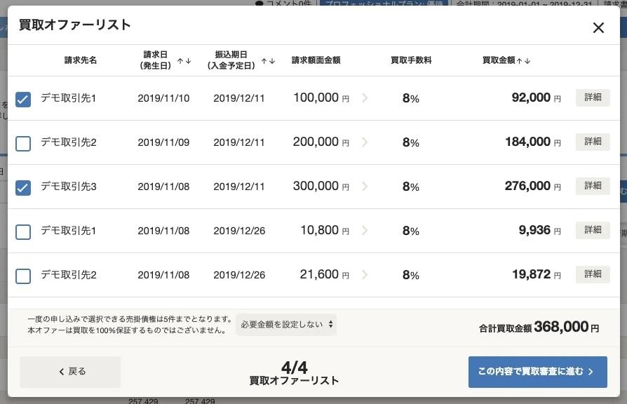 会計ソフトの管理画面